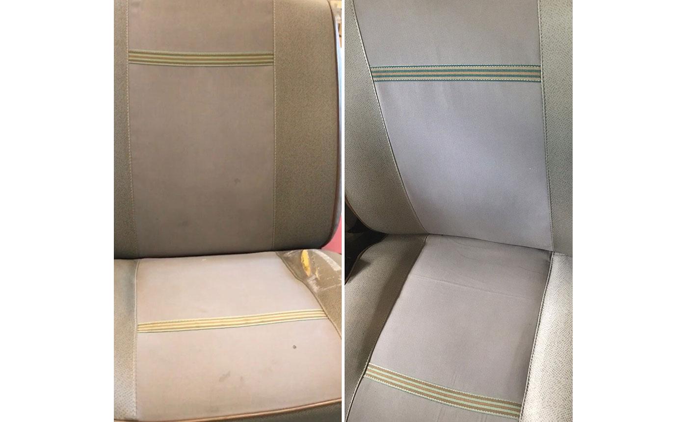 prima e dopo del sedile per il nostro cliente